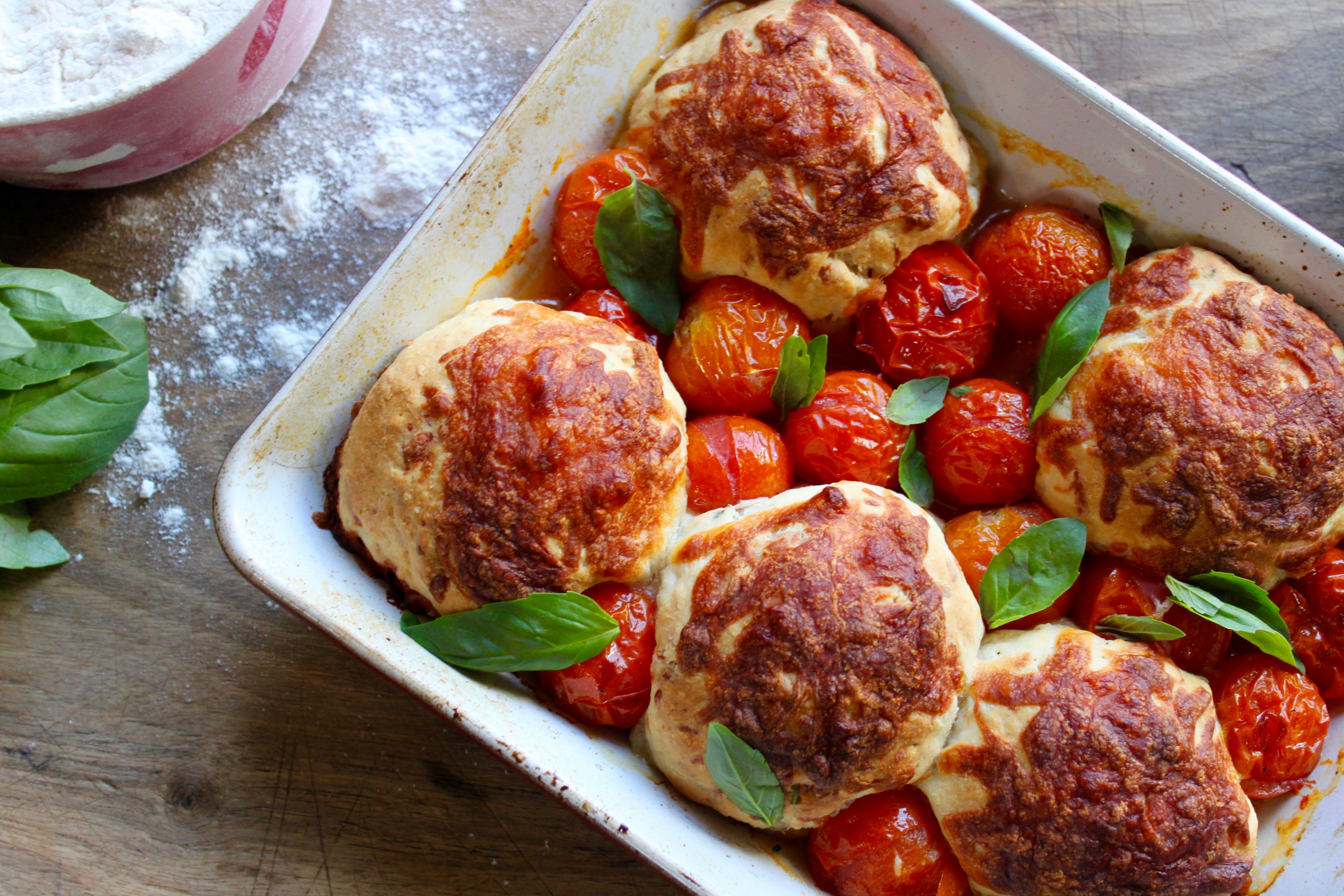 Wood Fired Cheese Scones With Cherry Tomatoes And Basil