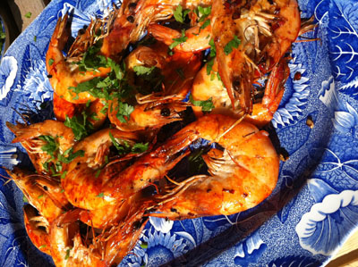 wood fired prawns