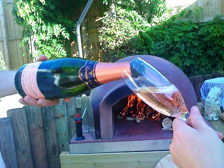 Champers and a wood burning oven
